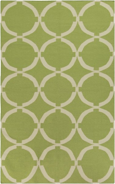 Frontier Contemporary Lime Ivory Wool Geometric Area Rug (L 96 X W 60) FT495-58