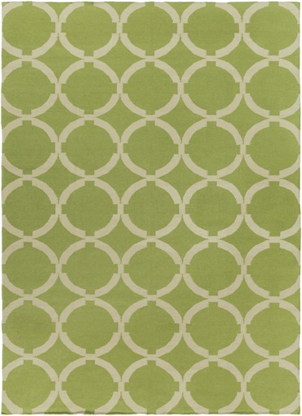 Frontier Contemporary Lime Ivory Wool Area Rug (L 132 X W 96) FT495-811