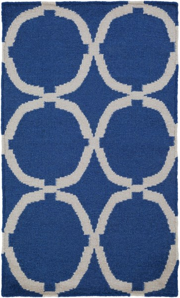 Frontier Ivory Navy Wool Area Rug - 24 x 36 FT521-23