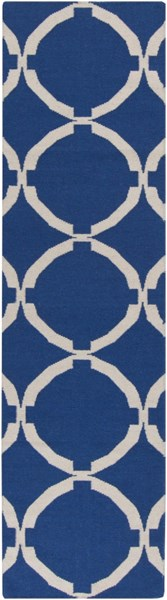 Frontier Contemporary Ivory Navy Wool Runner (L 96 X W 30) FT521-268