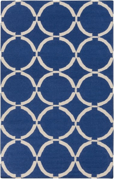 Frontier Contemporary Ivory Navy Wool Geometric Area Rug (L 96 X W 60) FT521-58
