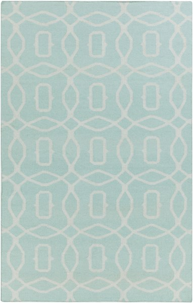Frontier Contemporary Teal Mint Fabric Area Rug (L 96 X W 60) FT531-58