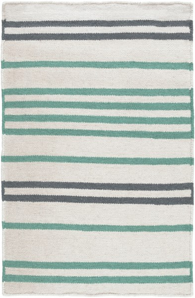 Frontier Ivory Green Charcoal Wool Area Rug - 24 x 36 FT539-23
