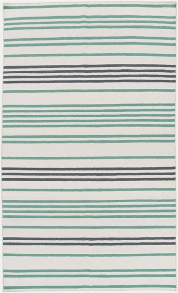 Frontier Ivory Green Charcoal Wool Area Rug - 60 x 96 FT539-58
