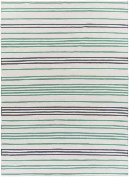 Frontier Ivory Green Charcoal Wool Area Rug - 96 x 132 FT539-811