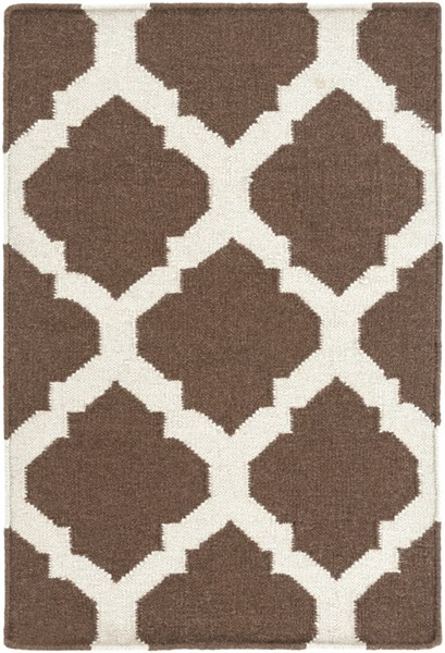 Frontier Contemporary Chocolate Beige Fabric Area Rug (L 36 X W 24) FT541-23