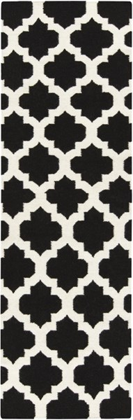 Frontier Contemporary Black Ivory Fabric Runner (L 96 X W 30) FT545-268