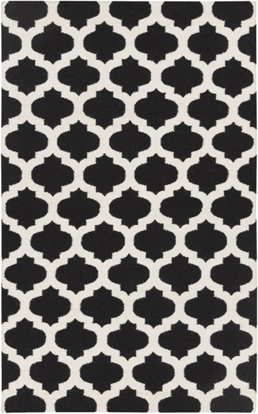 Frontier Contemporary Black Ivory Fabric Area Rug (L 96 X W 60) FT545-58