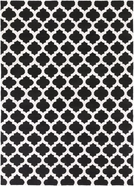 Frontier Contemporary Black Ivory Fabric Area Rug (L 132 X W 96) FT545-811