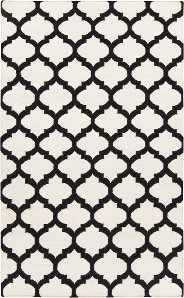Frontier Contemporary Ivory Black Fabric Area Rug (L 96 X W 60) FT546-58