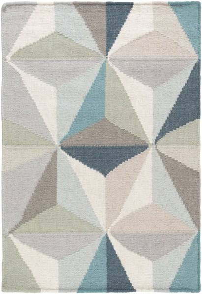 Frontier Ivory Teal Light Gray Wool Area Rug - 24 x 36 FT560-23