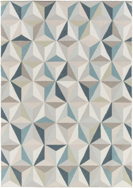 Frontier Ivory Teal Light Gray Wool Area Rug - 96 x 132 FT560-811