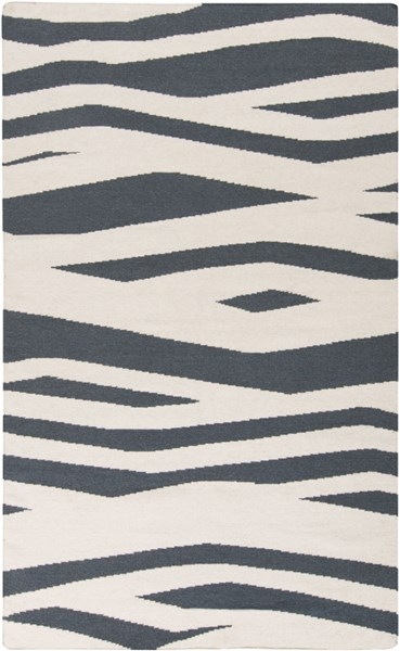 Frontier Contemporary Teal Ivory Wool Area Rug (L 96 X W 60) FT574-58