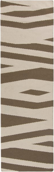Frontier Contemporary Mocha Ivory Wool Runner (L 96 X W 30) FT575-268