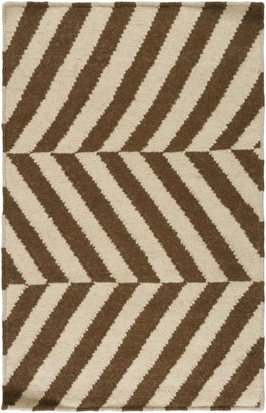 Frontier Contemporary Mocha Ivory Wool Area Rug (L 36 X W 24) FT577-23