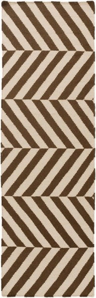 Frontier Contemporary Mocha Ivory Wool Zig Zag Runner (L 96 X W 30) FT577-268