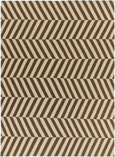 Frontier Contemporary Mocha Ivory Wool Area Rug (L 132 X W 96) FT577-811