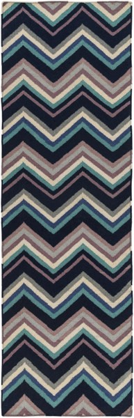 Frontier Contemporary Navy Blue Teal Wool Runner (L 96 X W 30) FT593-268