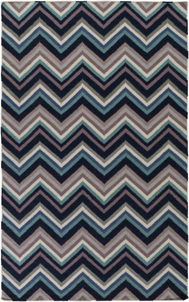 Frontier Contemporary Navy Blue Teal Wool Area Rug (L 96 X W 60) FT593-58