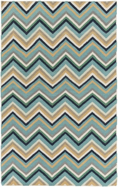 Frontier Teal Gold Taupe Wool Area Rug - 60 x 96 FT595-58