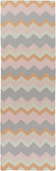 Frontier Salmon Burnt Orange Light Gray Wool Runner (L 96 X W 30) FT599-268