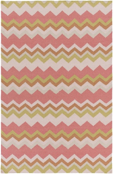 Frontier Coral Gold Light Gray Wool Area Rug (L 96 X W 60) FT601-58