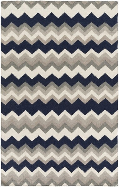 Frontier Contemporary Light Gray Navy Wool Area Rug (L 96 X W 60) FT602-58