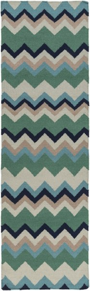 Frontier Contemporary Forest Teal Taupe Wool Runner (L 96 X W 30) FT603-268