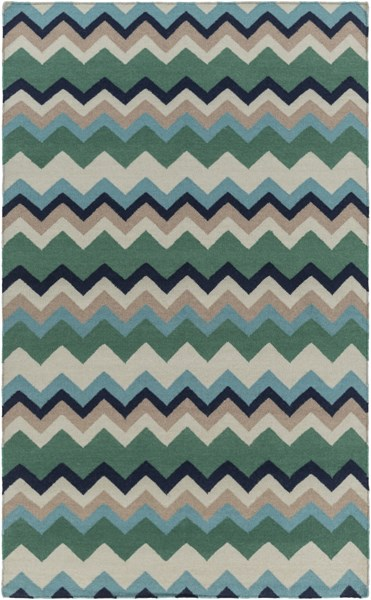 Frontier Contemporary Forest Teal Taupe Wool Area Rug (L 96 X W 60) FT603-58