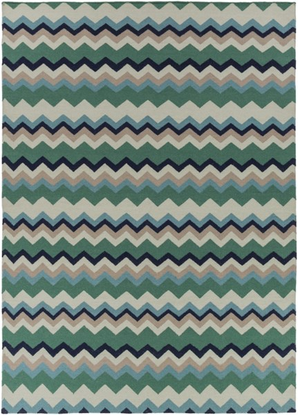 Frontier Contemporary Forest Teal Taupe Wool Area Rug (L 132 X W 96) FT603-811