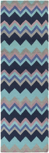 Frontier Contemporary Navy Sky Blue Teal Wool Runner (L 96 X W 30) FT604-268