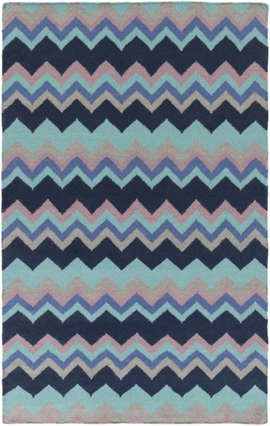 Frontier Contemporary Navy Sky Blue Teal Wool Area Rug (L 96 X W 60) FT604-58