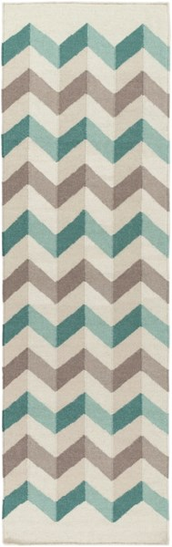 Frontier Light Gray Olive Teal Wool Runner - 30 x 96 FT608-268