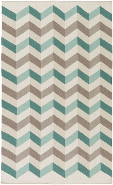 Frontier Light Gray Olive Teal Wool Area Rug - 60 x 96 FT608-58