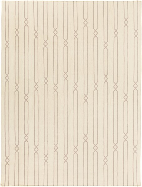 Frontier Beige Gray Fabric Striped Area Rug (L 132 X W 96) FT612-811