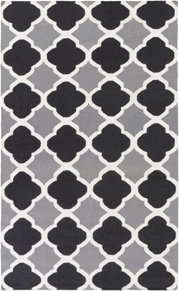 Frontier Black Gray Ivory Wool Area Rug - 60 x 96 FT66-58