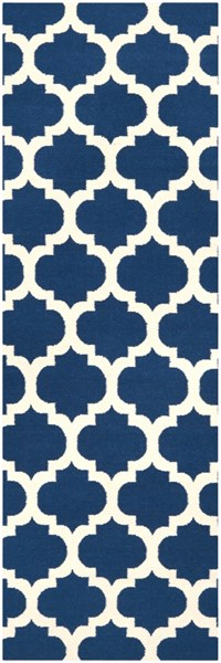 Frontier Contemporary Navy Ivory Fabric Runner (L 96 X W 30) FT84-268