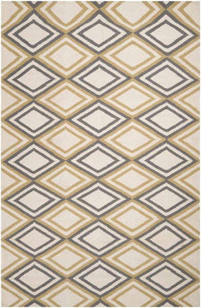 Frontier Contemporary Ivory Light Gray Wool Area Rug (L 96 X W 60) FT85-58