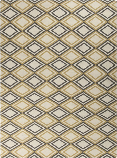 Frontier Contemporary Ivory Light Gray Wool Area Rug (L 132 X W 96) FT85-811