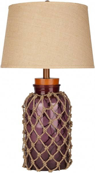 Amalfi Glass Jute Burgundy Glass Burlap Table Lamp - 17x30 FTL-7001