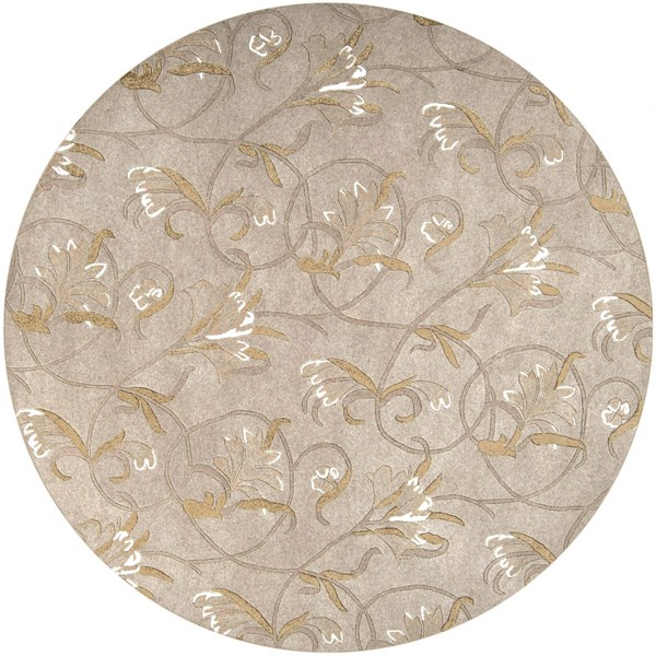 Goa Taupe Gold Beige Olive New Zealand Wool Round Area Rug - 93 x 93 G44-79RD