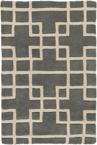 Goa Contemporary Charcoal Beige Wool Area Rug (L 36 X W 24) G5080-23
