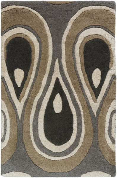 Goa Contemporary Charcoal Olive Ivory Wool Area Rugs 1357-VAR1