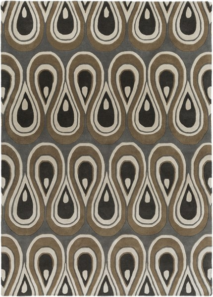 Goa Charcoal Olive Ivory New Zealand Wool Area Rug - 96 x 132 G5136-811