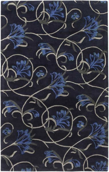 Goa Navy Charcoal Cobalt Forest New Zealand Wool Area Rug - 60 x 96 G5151-58