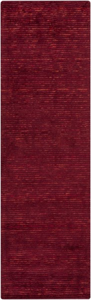 Gaia Contemporary Burgundy Viscose Wool Runner (L 96 X W 30) GAI1000-268