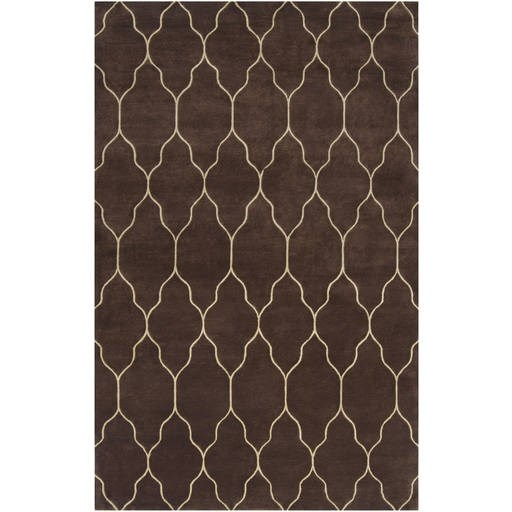 Standard Chocolate Taupe Brown Wool Rectangle Rug GAT100-VAR