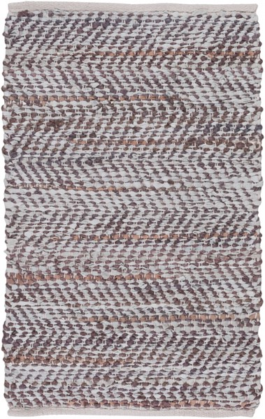 Gideon Slate Eggplant Gold Jute Leather Area Rug - 24 x 36 GDE4004-23