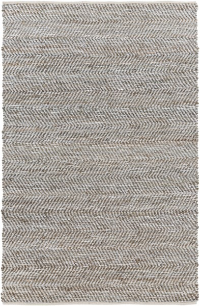 Gideon Slate Olive Gray Jute Leather Area Rug (L 90 X W 60) GDE4006-576