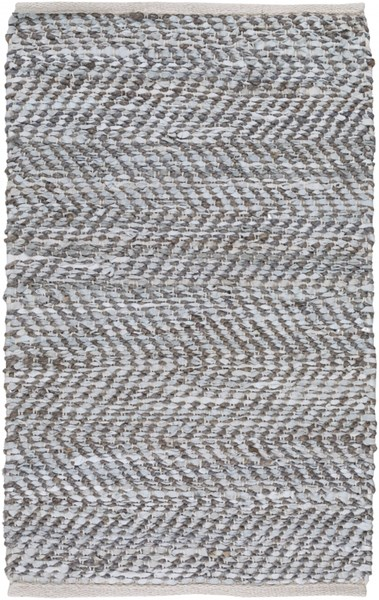 Gideon Slate Olive Gray Jute Leather Area Rug (L 36 X W 24) GDE4007-23